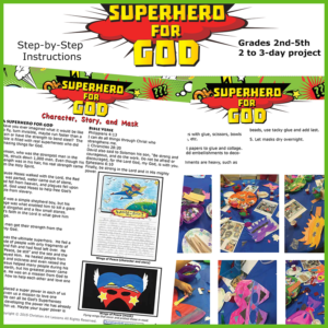 Superhero for God art and creative writing lesson