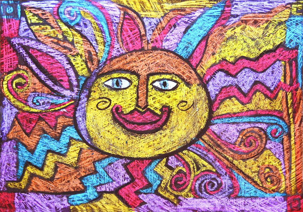 Oil pastel Sun with the Scratch technique