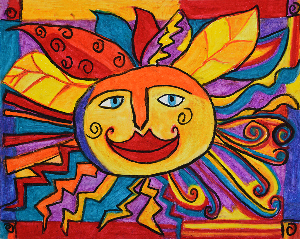 Sun line drawing in oil pastel