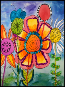 Ho to Draw a doodle flower watercolor
