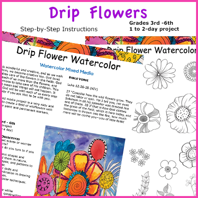 Drip watercolor flowers and doddle art