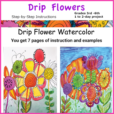 Drip watercolor Flowers with Doodle drawings
