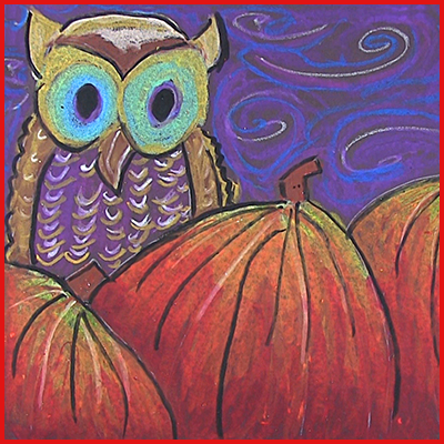 Owl art lesson in Oil Pastel