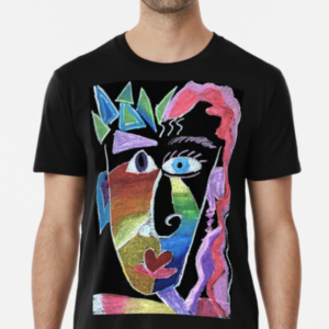 Picasso Face Black T-shirt With Abstract Portrait