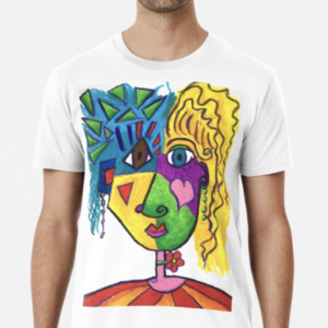 Picasso Face Abstract Portrait of a Girl Premium T-Shirt